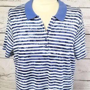 Studio Works Marbled Blue/White Stripe Polo Shirt